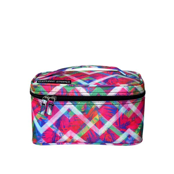 Floral Chevron Cosmetic Case Elephant Stripes Travel