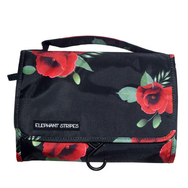 Wild Poppies Hanging Toiletry Bag Elephant Stripes