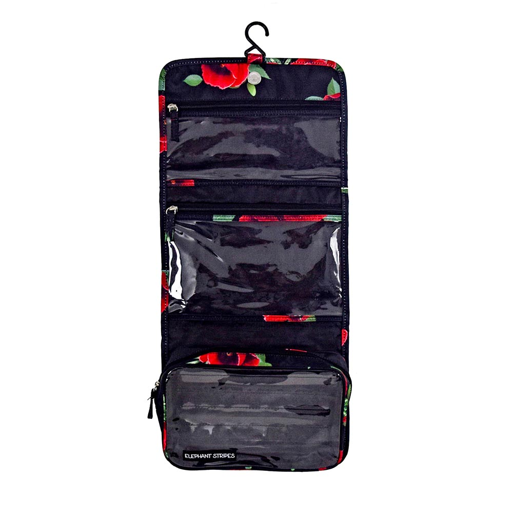 wild poppies hanging toiletry bag