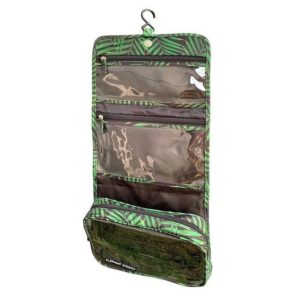 green hanging toiletry bag