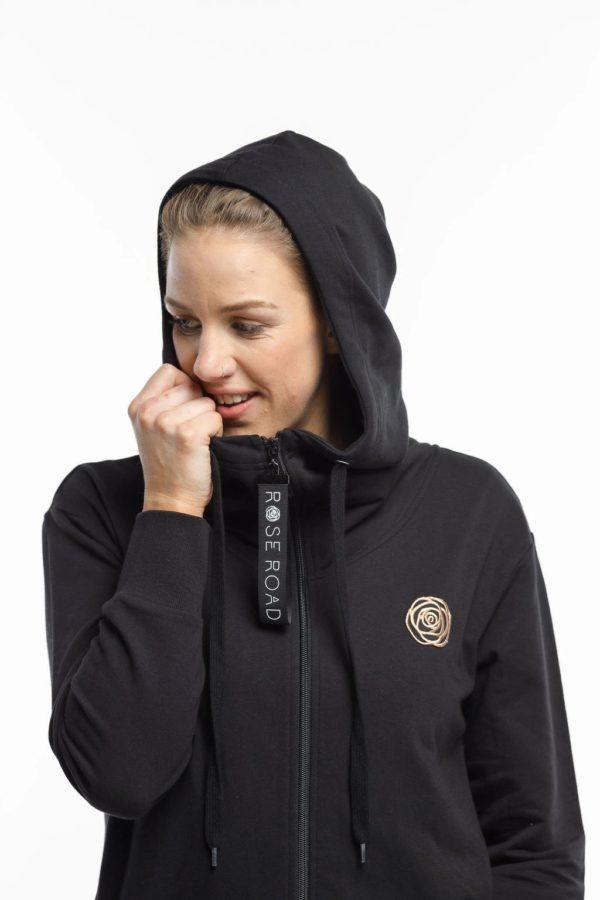 rose road zip up hoodie black