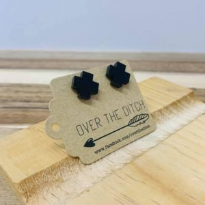Over the ditch black X earrings