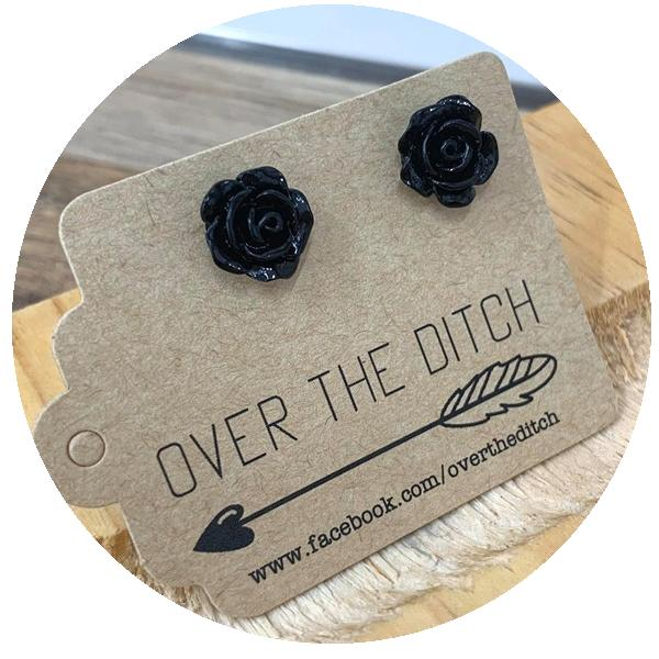 gothic rose studs by over the ditch