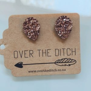 Rose Gold sparkly teardrop earrings by over the ditch
