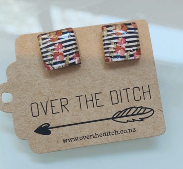 square floral and stripe earrings by over the ditch