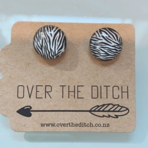 zebra black and white dome earrings by over the ditch