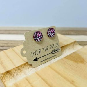 Hot Pink Leopard stud earrings by over the ditch